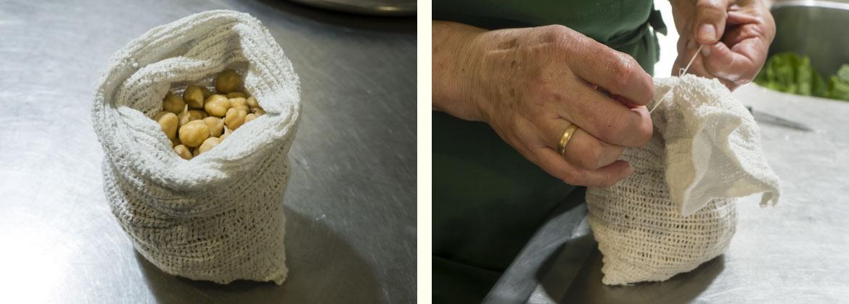 Receta cocido gallego tradicional: echamos los garbanzos dentro de un saquito que anudamos para que sea más facil separar los garbanzos cuando queramos sacarlos de la olla