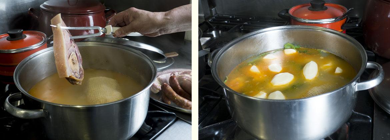 Receta cocido gallego tradicional: retiramos la carne y echamos las verduras y las patatas