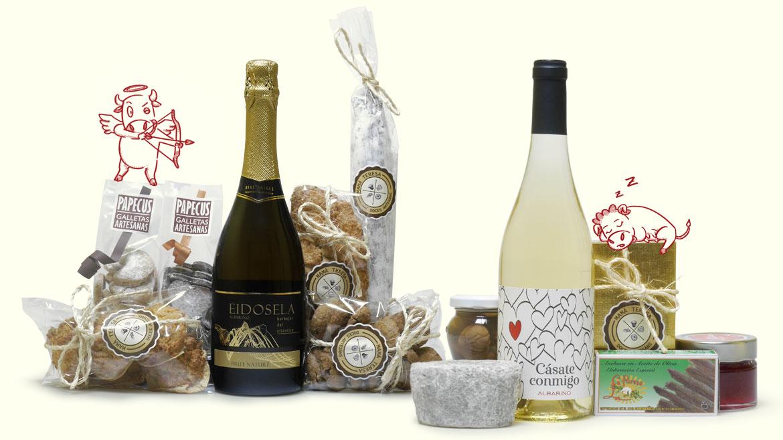Esta es una pequeña muestra de los productos gourmet que se incluyen entre nuestros regalos de San Valentín para el día de los enamorados