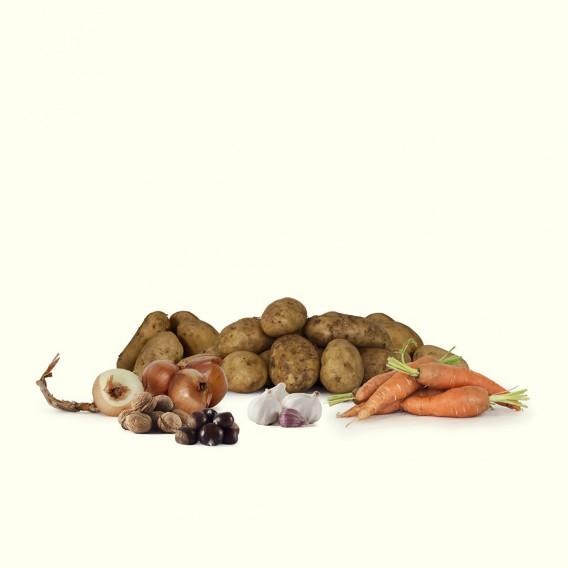 """La mejores patatas gallegas """"kennebec"""", cebollas, ajos y zanahorias."""