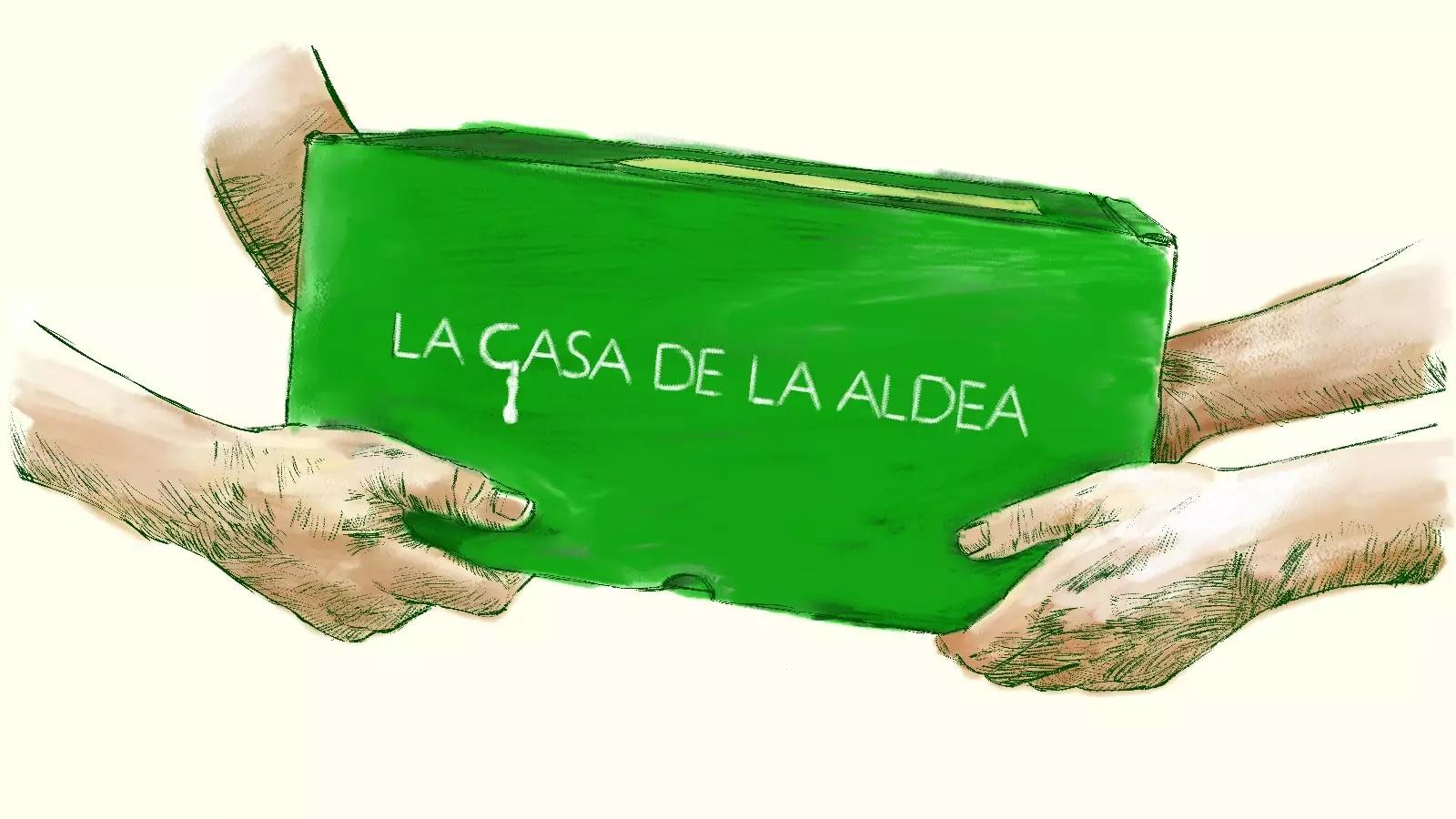 Ilustración de una caja de LA CASA DE LA ALDEA siendo entregada a domicilio